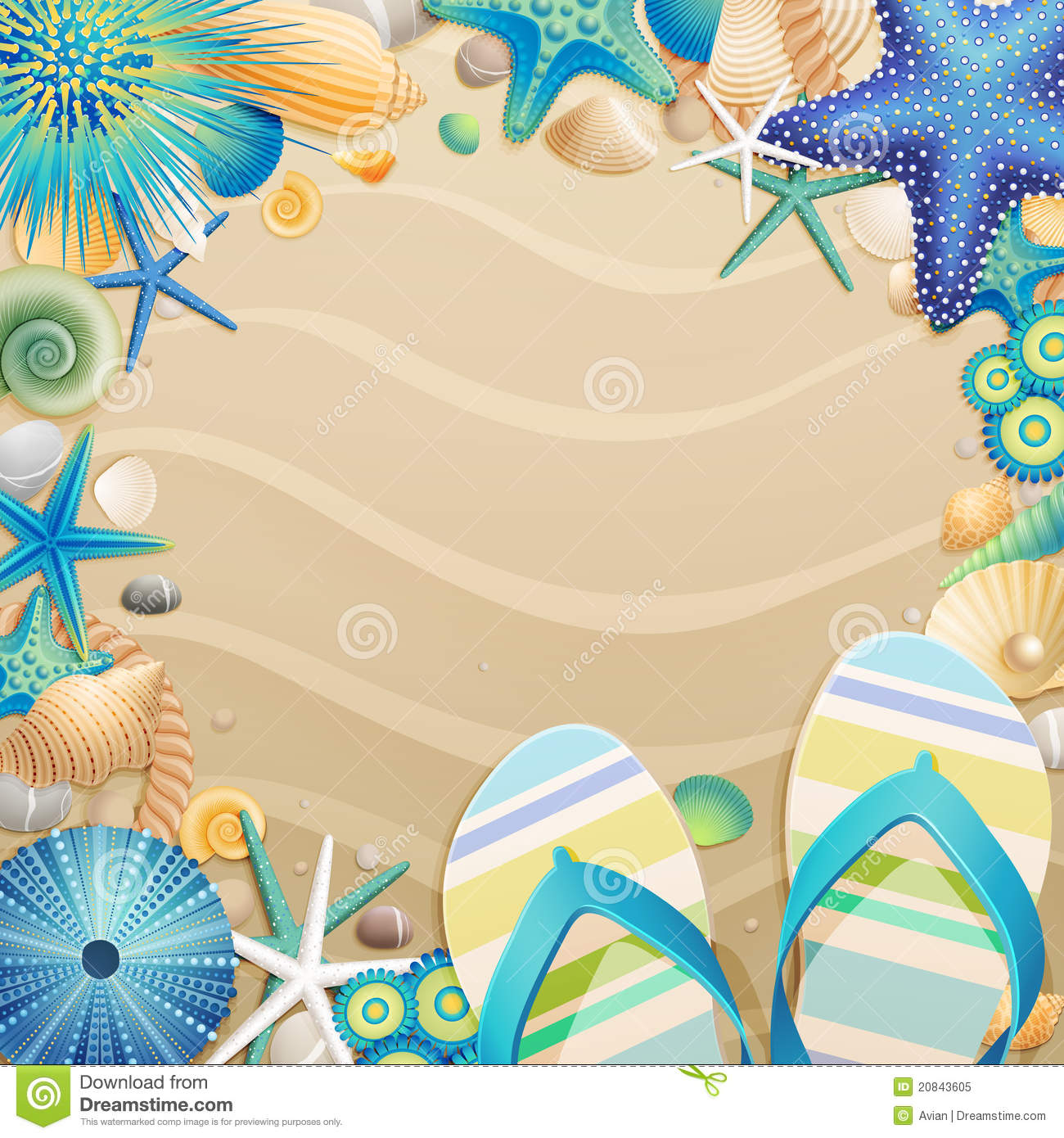 Flip Flops And Shells Frame On The Beach Royalty Free Stock Photo