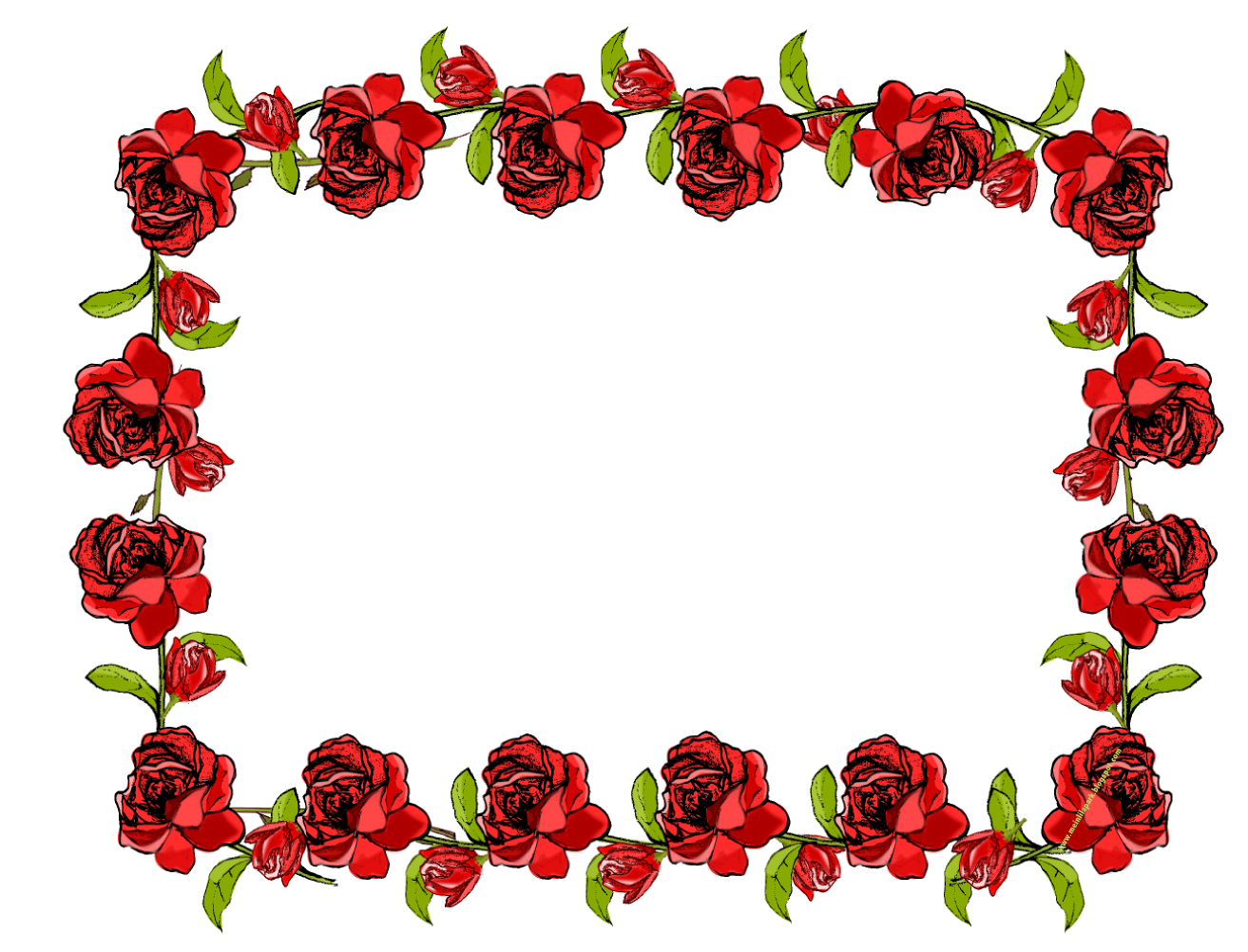 Free Faux Vintage Rose Frame Border Png With Transparent Background