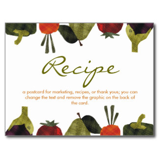 Half Veggies Fruits Cooking Catering Recipe Pos    Postcard