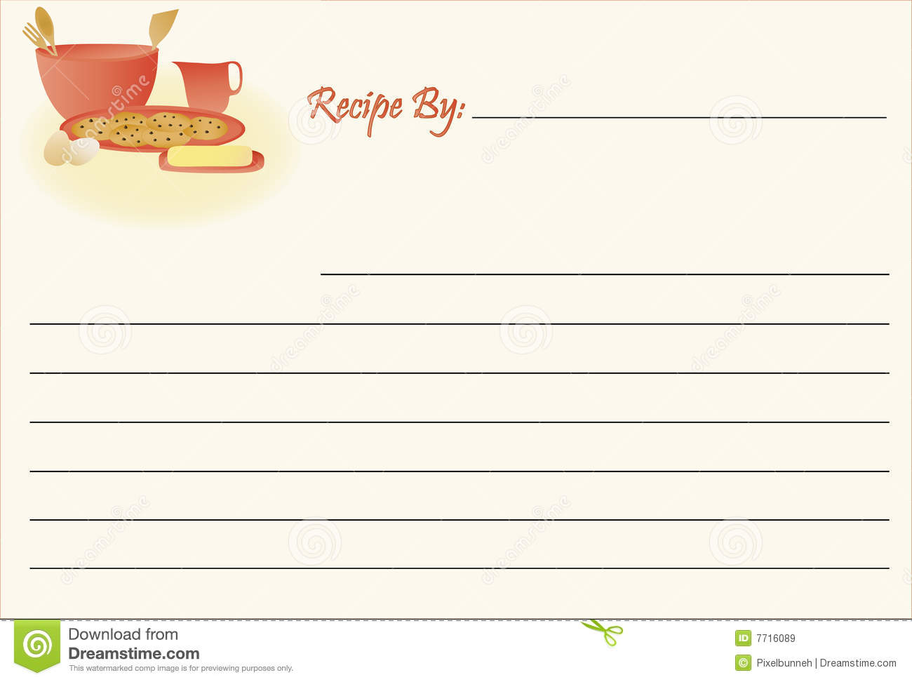 Lined Recipe Card With A Cookie Baking Theme  Vector File So You