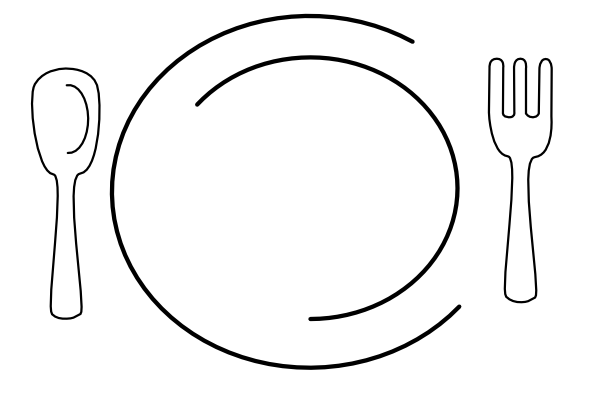 Black And White Plate Of Food Clipart - Clipart Kid