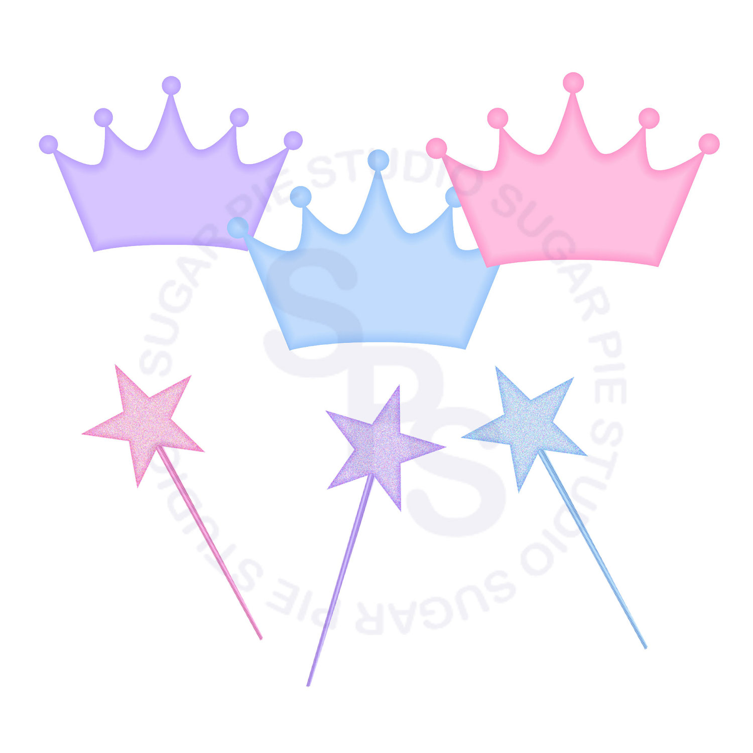 Princess Crown And Wands Element Digital Clip Art  Clipart Personal