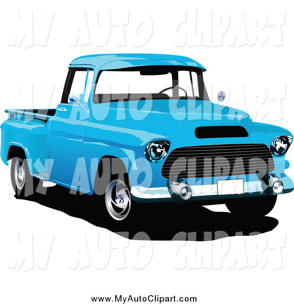 Clip Art Of A Retro Blue Pickup Truck By Leonid    1728