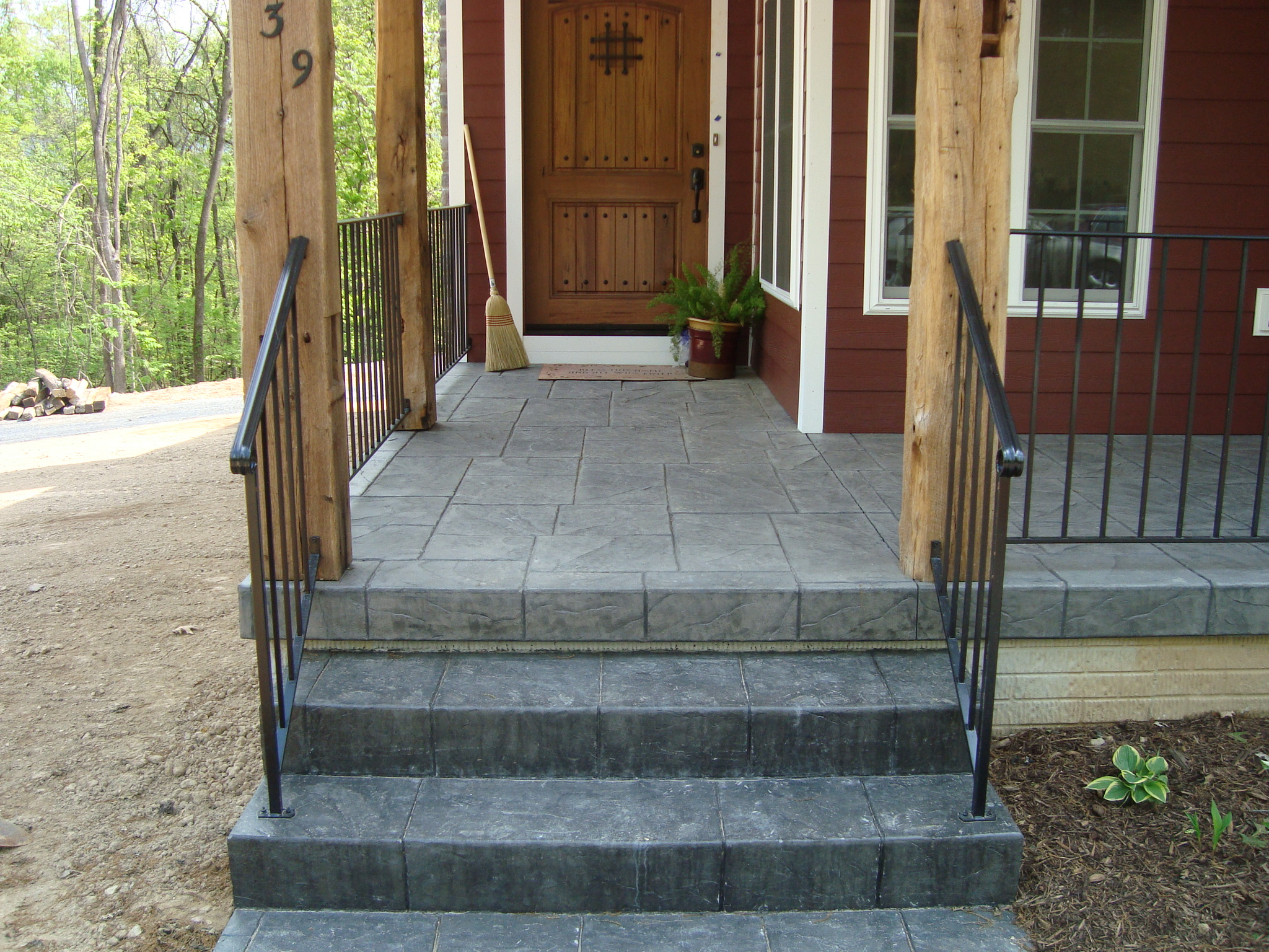 Concrete patios with steps porch amp steps strasburg - Concrete porch steps ideas ...