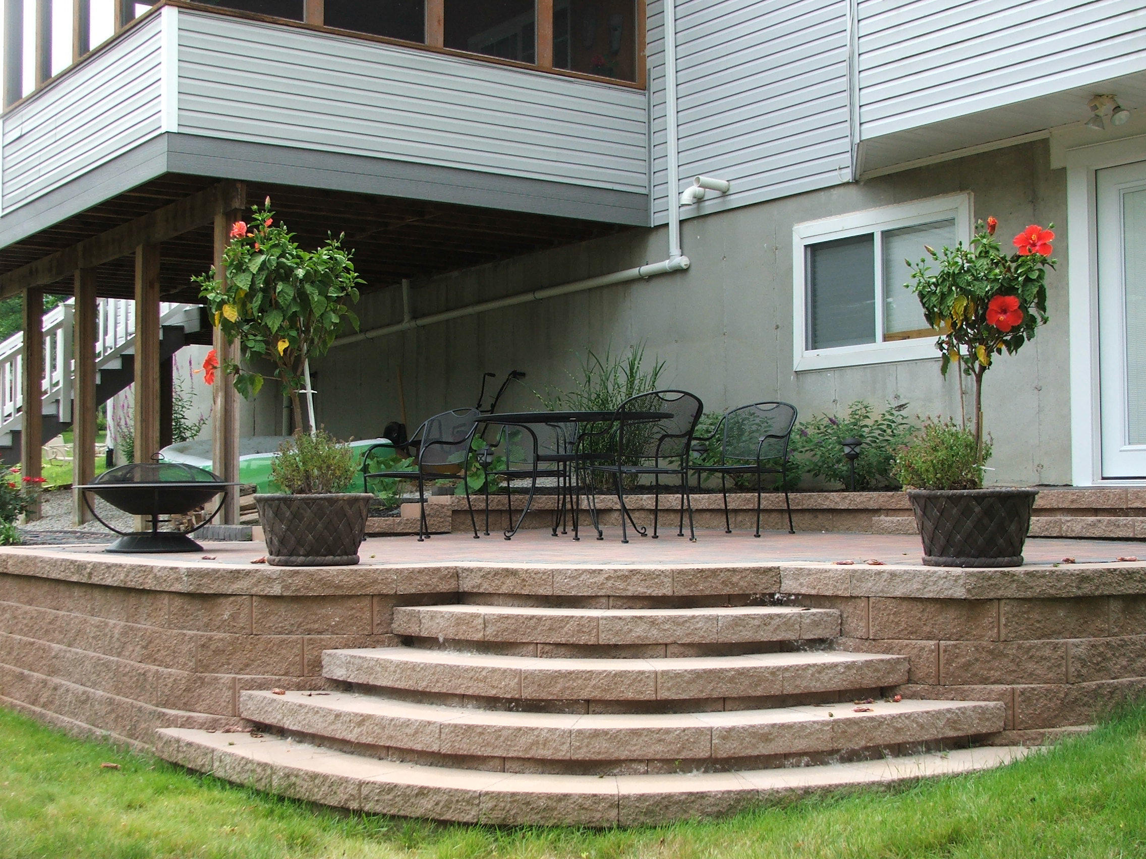 Concrete Patios With Steps Steps To Paver Patio