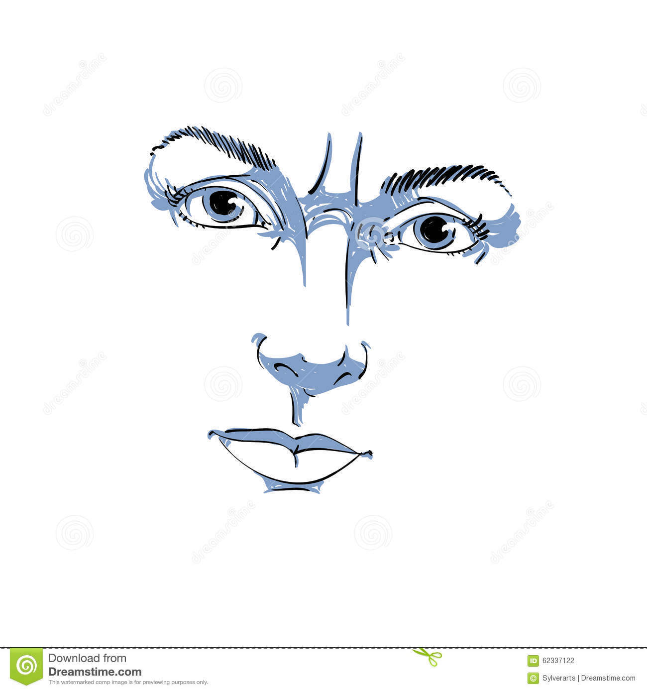 Face Features And Emotions Theme Illustration  Angry Lady With