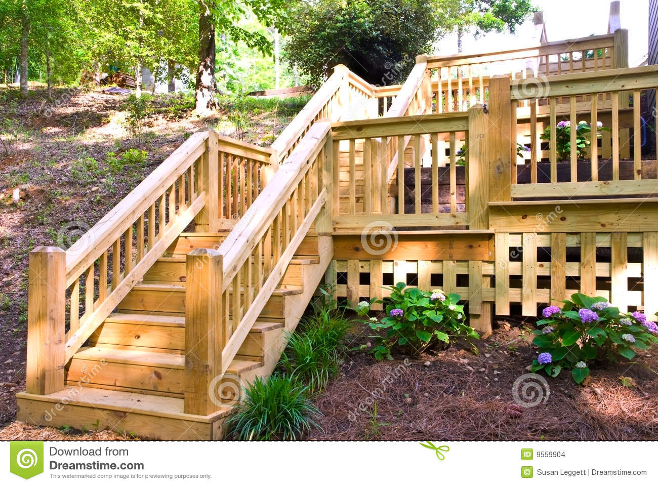 New Wooden Deck And Steps On The Back Of A House  The Wood Is