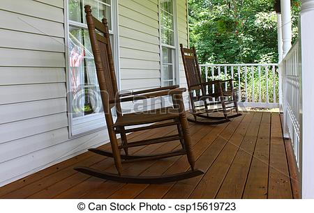 Rocking Chair On Porch Clipart Two Brown Wooden Rocking