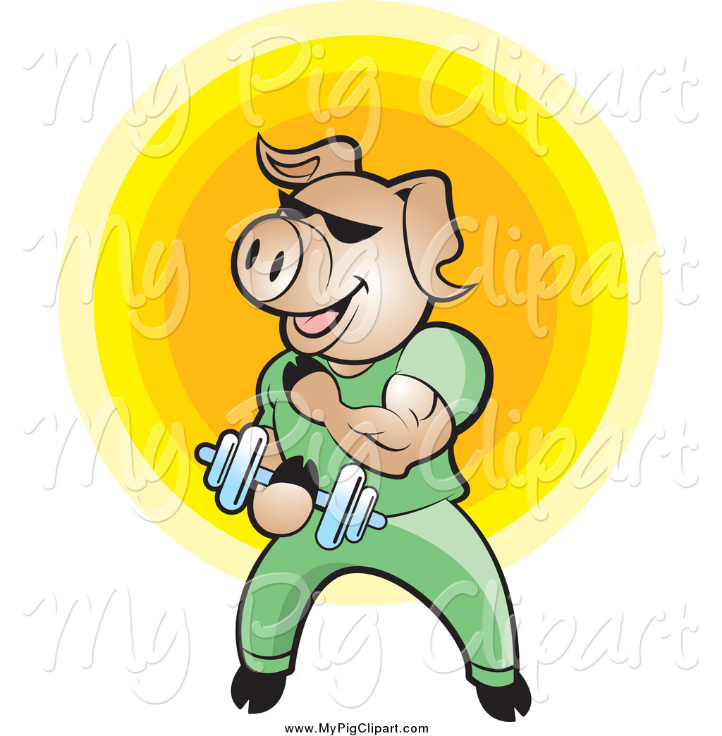 Swine Clipart Of A Bodybuilder Pig Lifting Weights Over A Yellow