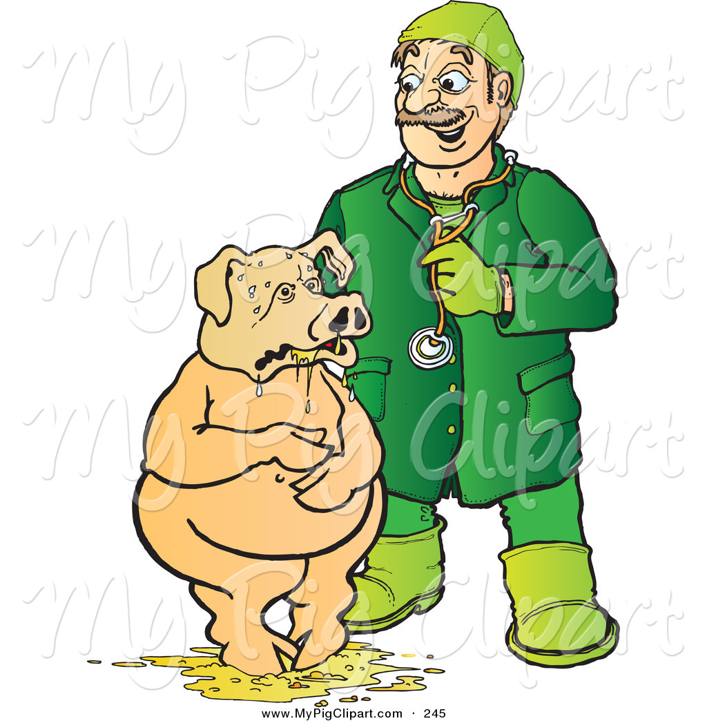 Swine Clipart Of A Caucasian Veterinarian Attending To A Pig Standing