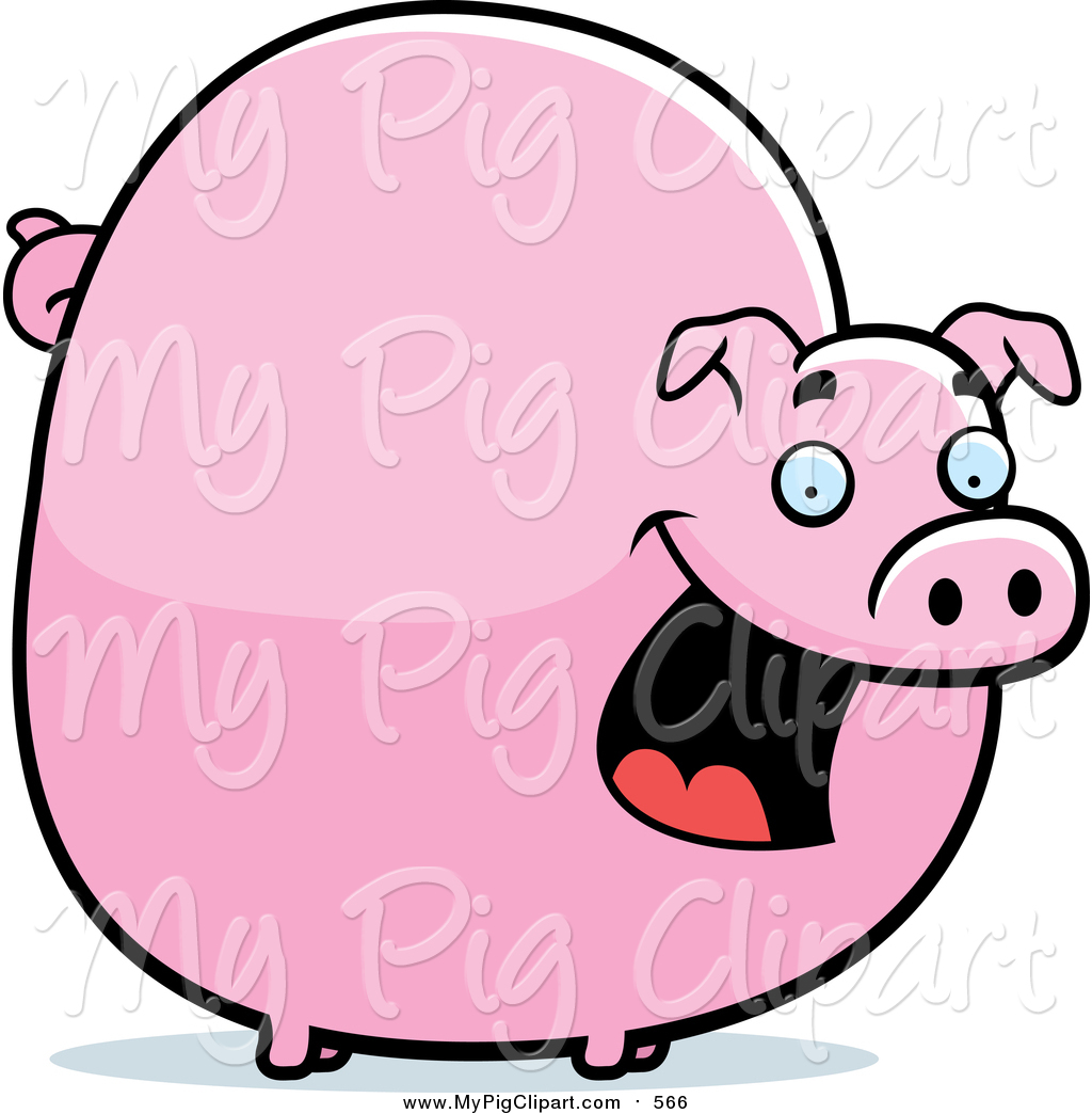 Swine Clipart Of A Chubby Pink Pig Smiling