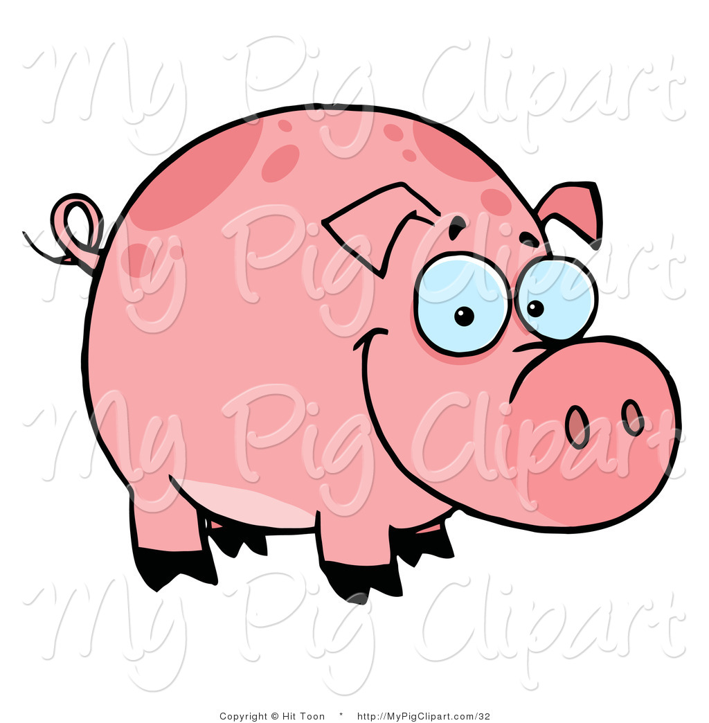 Swine Clipart Of A Happy Smiling Chubby Pink Pig With Spots By Hit