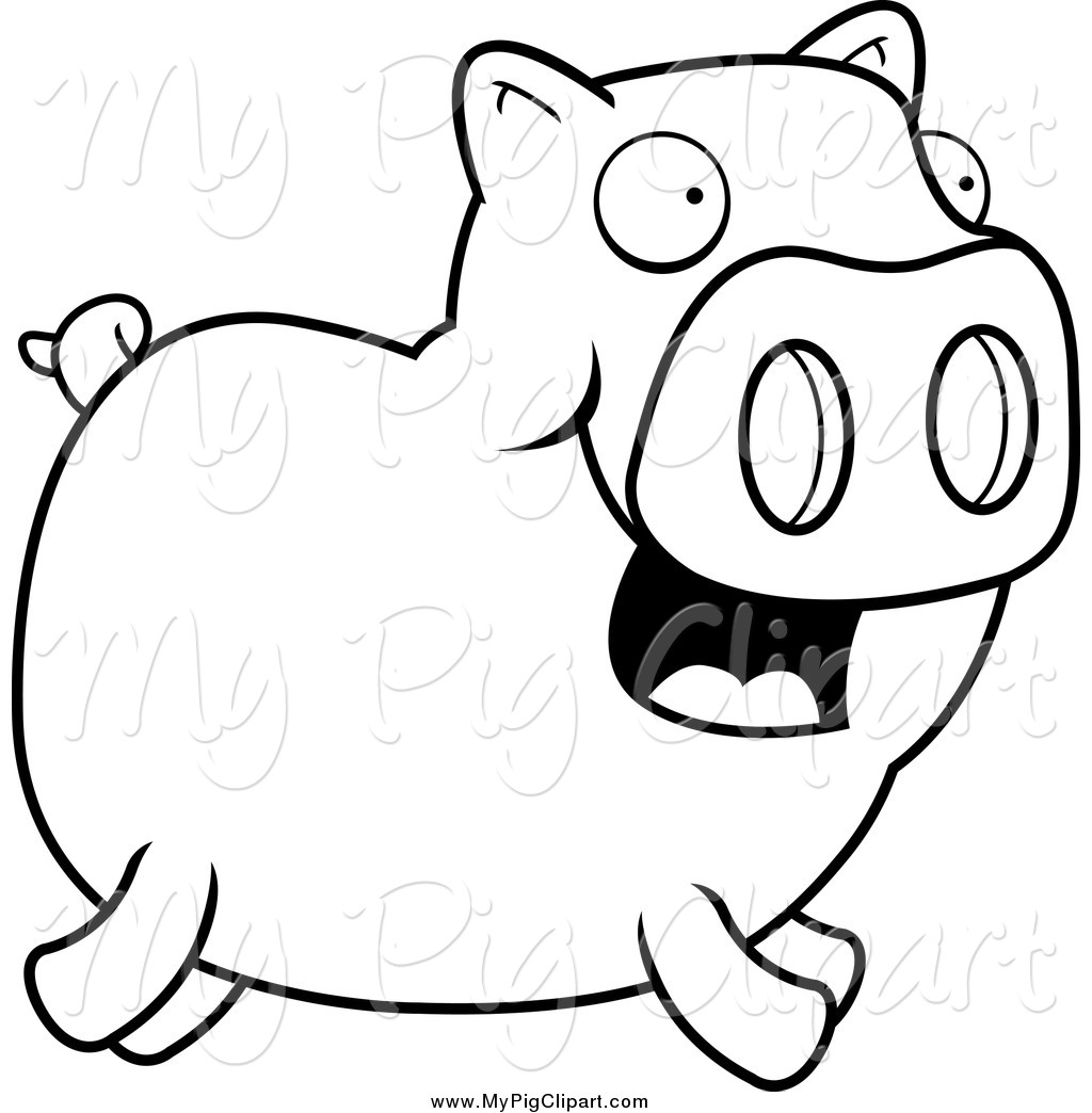 Swine Clipart Of A Lineart Happy Piggy Running