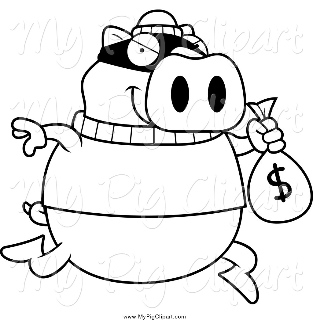 Swine Clipart Of A Lineart Pig Robbing A Bank By Cory Thoman    1673