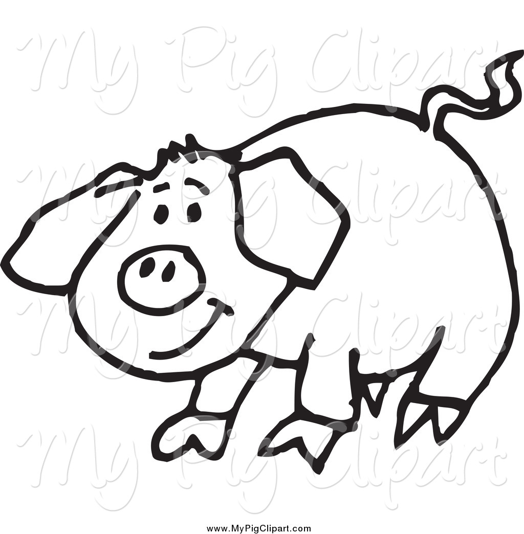 Swine Clipart Of A Sketched Black And White Happy Pig By Dennis Holmes