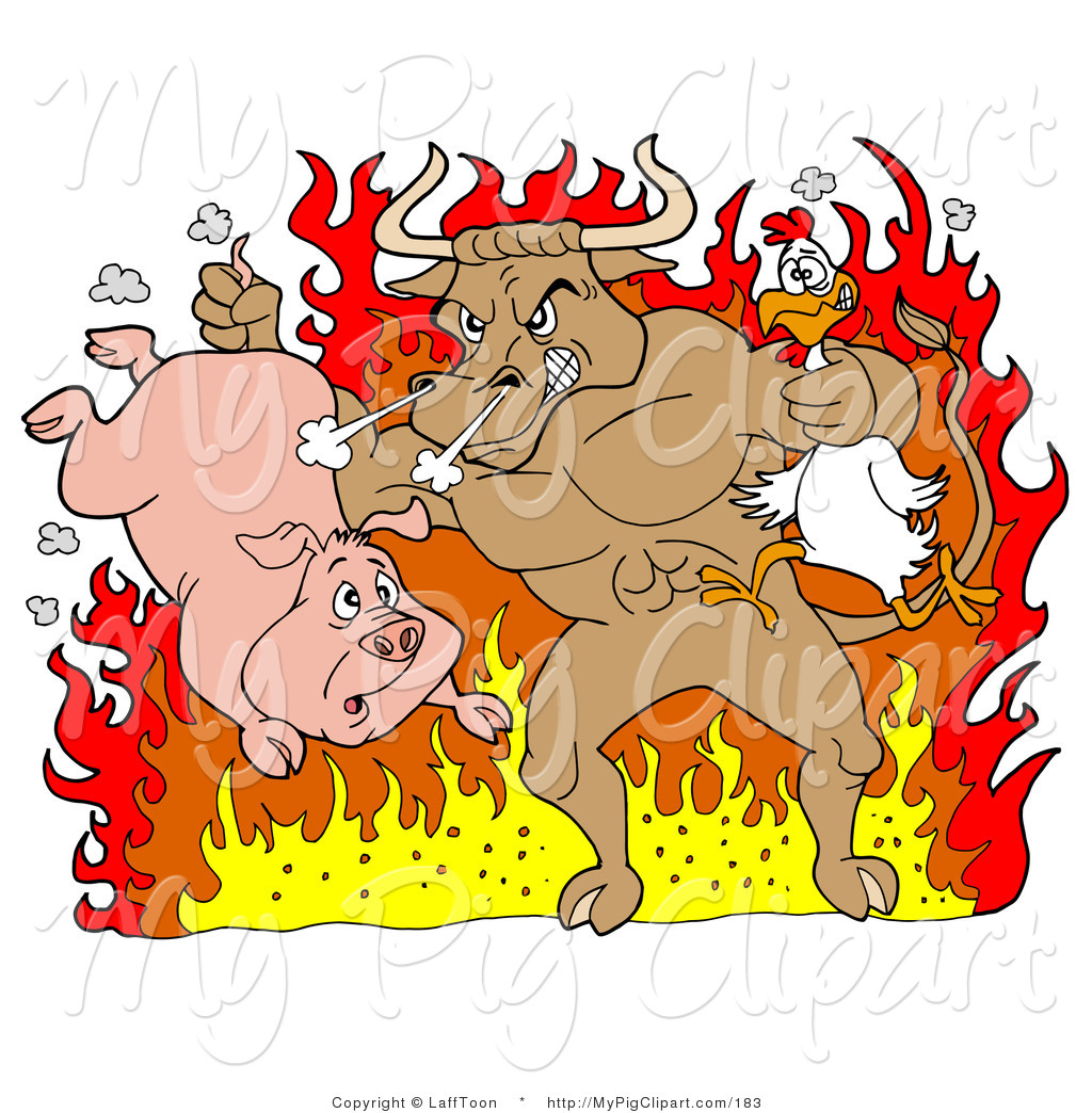 Swine Clipart Of A Tough Brown Bull Holding A Chicken And Pig And