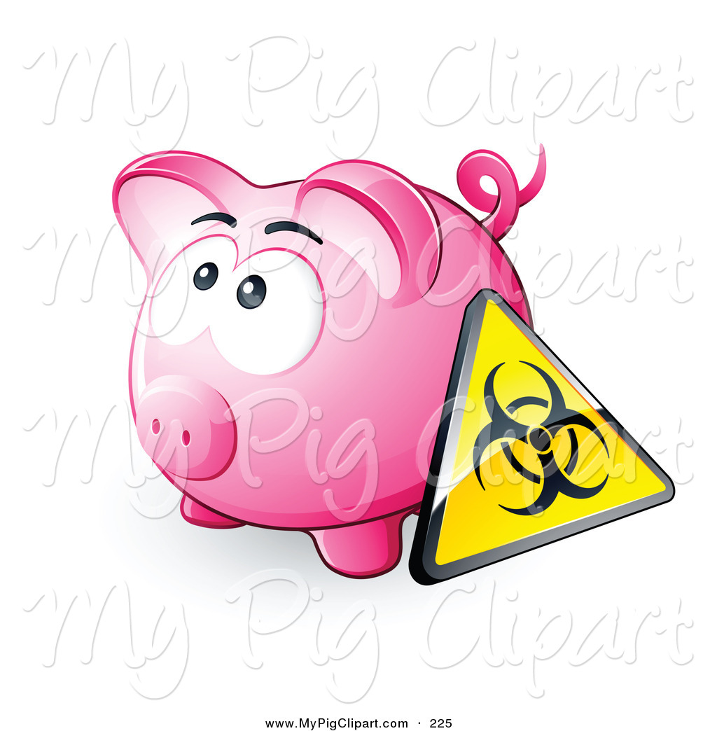 Swine Clipart Of A Yellow Biohazard Sign Resting Against A Pink Piggy