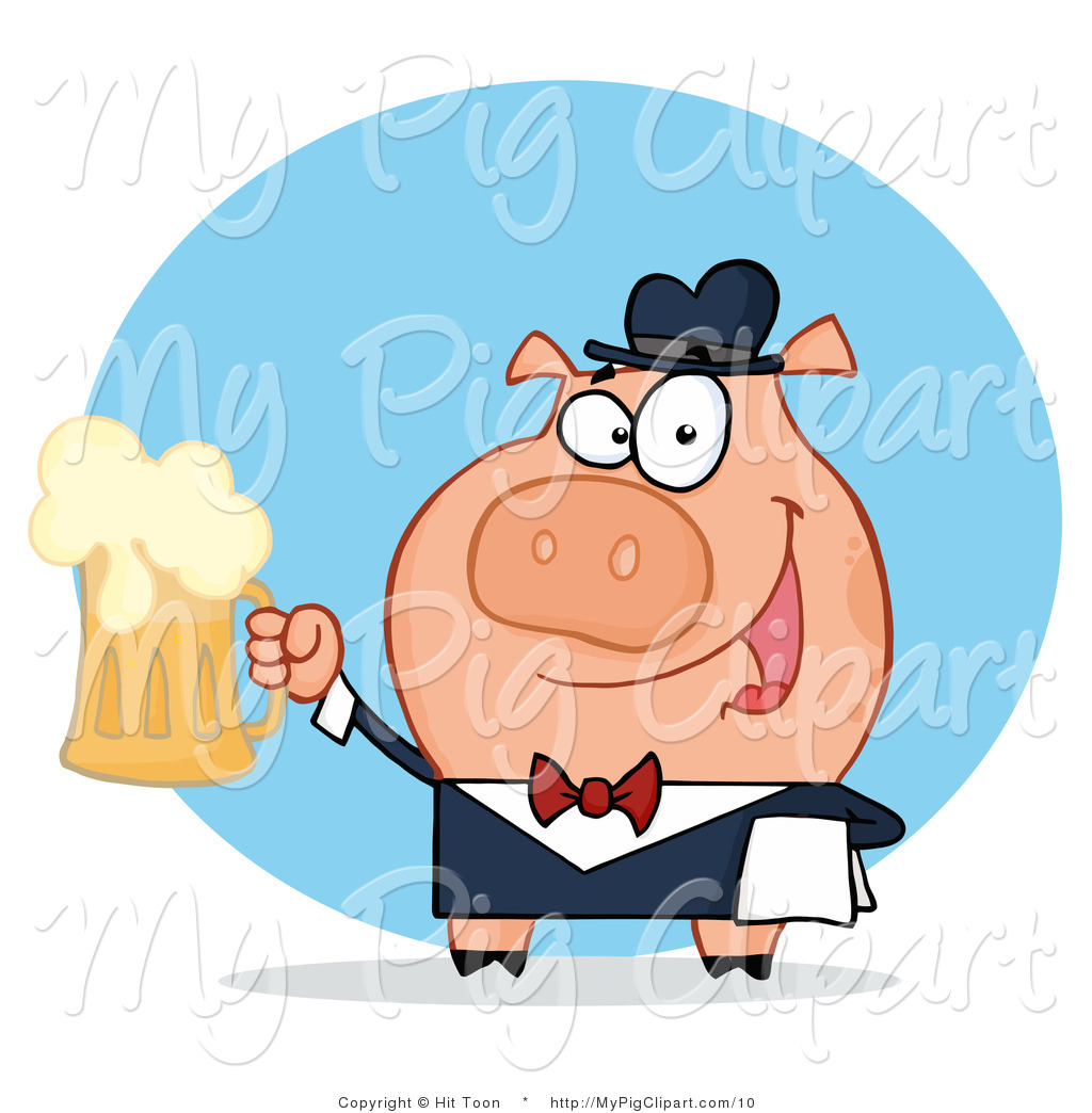Vector Swine Clipart Of A Waiter Pig Serving Beer By Hit Toon    10
