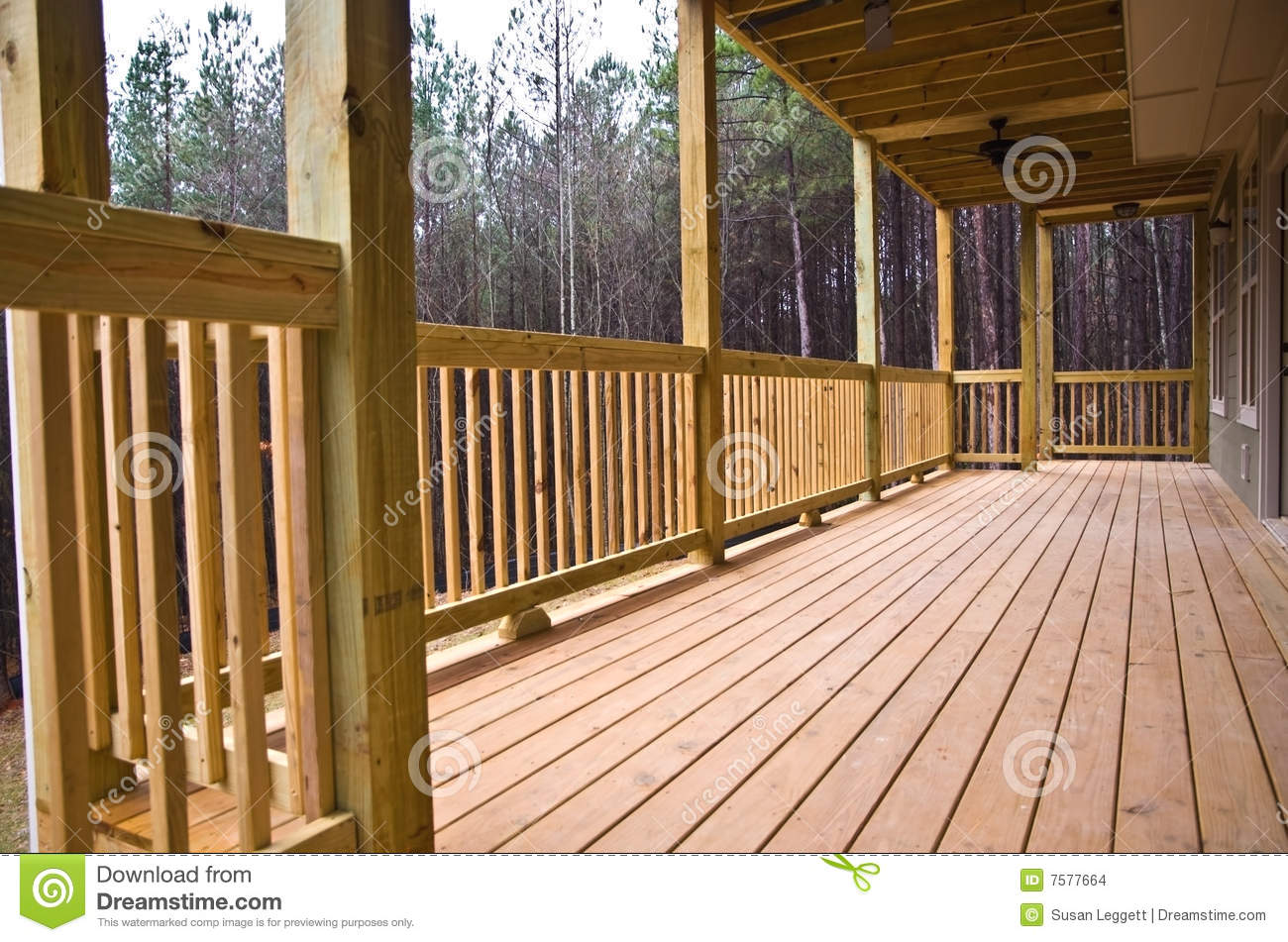 Wood Deck Porch On House Stock Images   Image  7577664