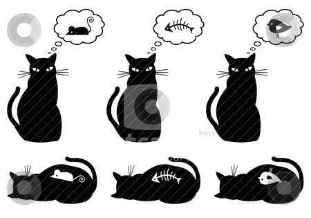 Cat Vector Stock Vector Clipart Cat Dreaming About Eating Vector