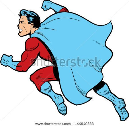 Classic Superhero With Cape Fighting And Throwing A Punch   Stock