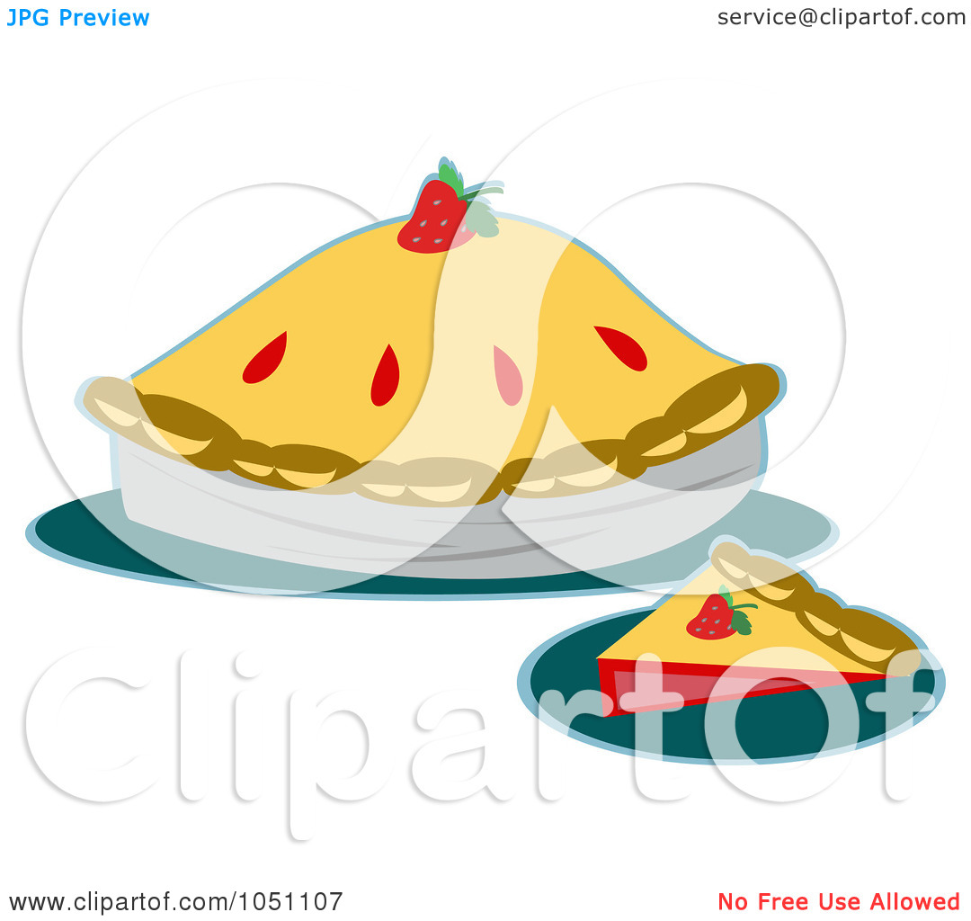 Clip Art Illustration Of A Slice And Whole Strawberry Pie By Bpearth