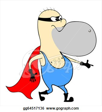 Clipart   Funny Man In A Red Cape  Stock Illustration Gg64517136