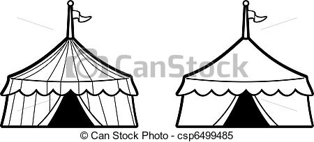 Clipart Vector Of Circus Tents   Illustration Of Black And White