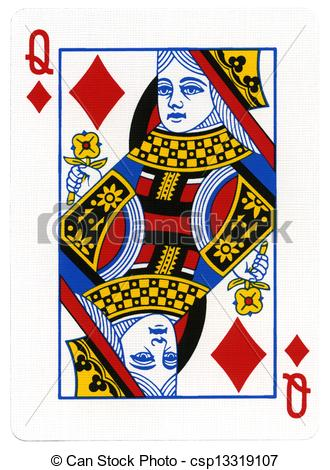 Queen Of Diamonds Playing Card Isolated On White Background This Card