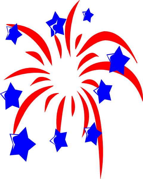 Red Fireworks With Blue Stars Clip Art At Clker Com   Vector Clip Art
