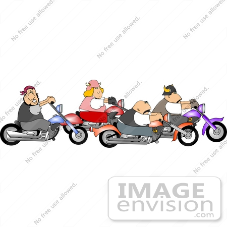 Team Of Bikers On Motorcycles Clipart    12598 By Djart   Royalty Free