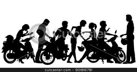 Vector Clipart Editable Vector Silhouettes Of A Young Motorcycle Gang