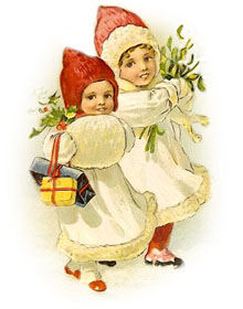 Vintage   Two Children With Hats And Holly