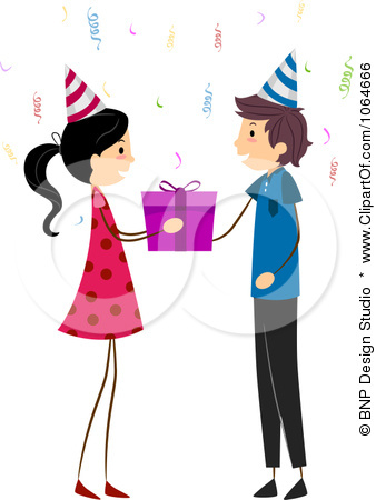 1064666 Clipart Girl Giving A Boy A Birthday Gift Royalty Free Vector
