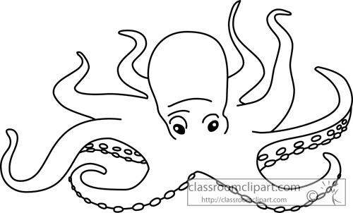 Animals   Mollusks Giant Octopus Silhouette   Classroom Clipart