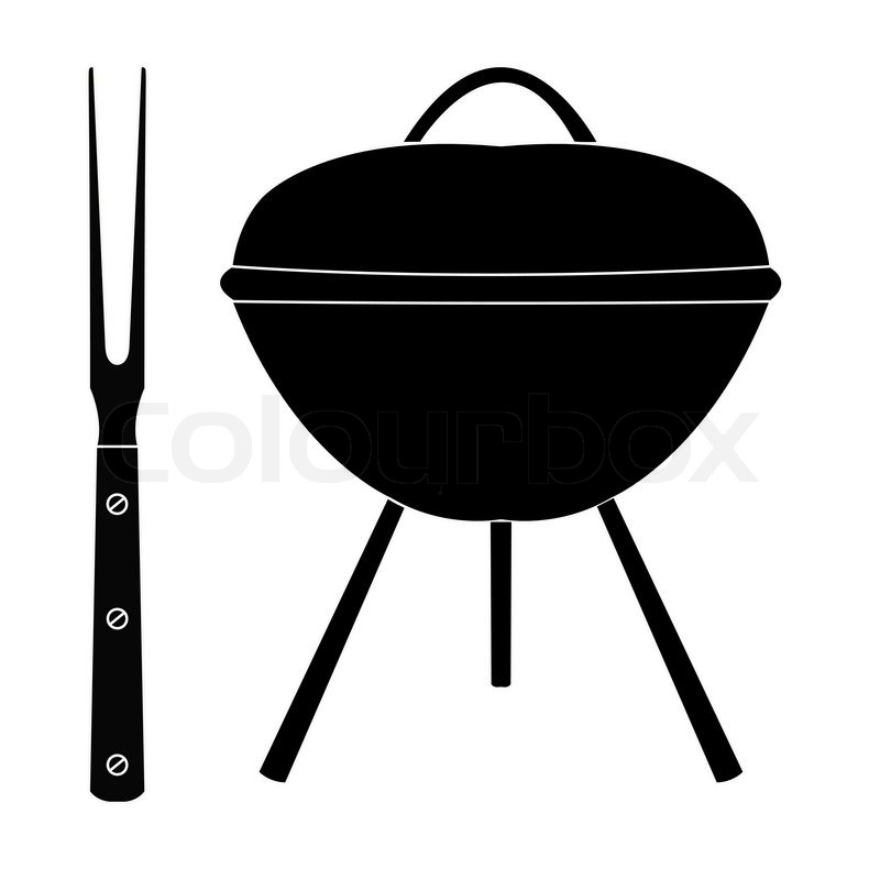 Barbecue Grill With Large Fork On A White   Vector   Colourbox