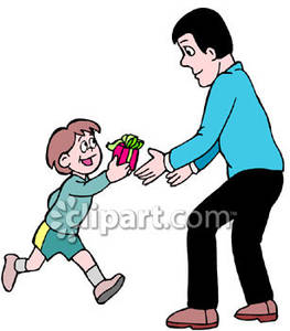 Boy Giving A Fathers Day Gift To His Dad Royalty Free Clipart