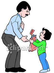 Boy Giving His Dad A Present   Royalty Free Clipart Picture