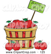 Bushel Of Red Organic Delicious Apples And A Price Tag By Pams Clipart