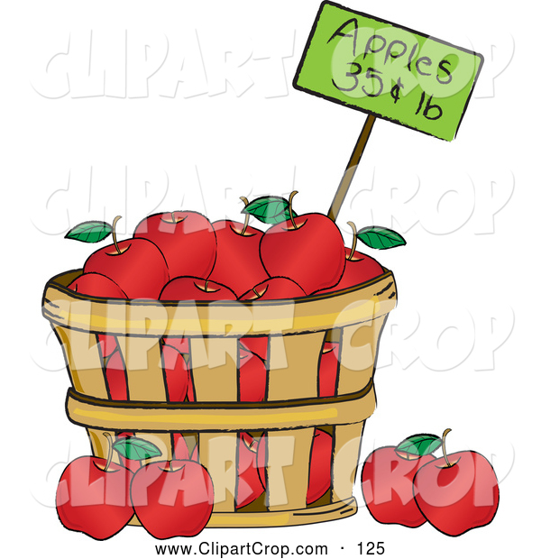Clip Art Vector Of A Wood Bushel Of Red Organic Delicious Apples And A