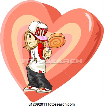 Clipart   Giving Present Long Hair Boy Whiteday Love  Fotosearch