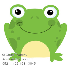 Clipart Illustration Of A Cute Green Frog With A Smile On Its Face