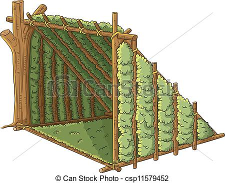 Clipart Vector Of Wooden Shelter Tent   Cartoon Illustration Of Wooden