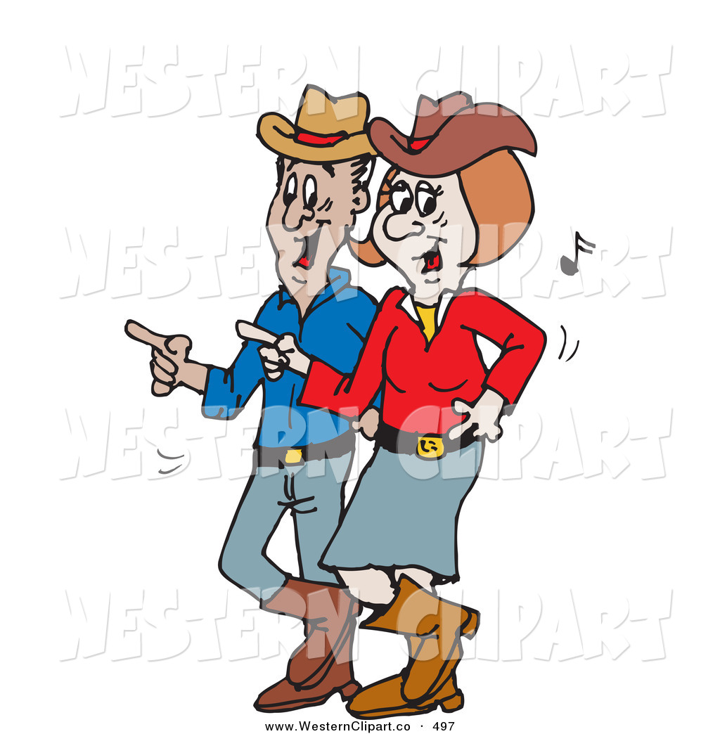 Country Music Happy Couple Line Dancing Black And White Country Couple