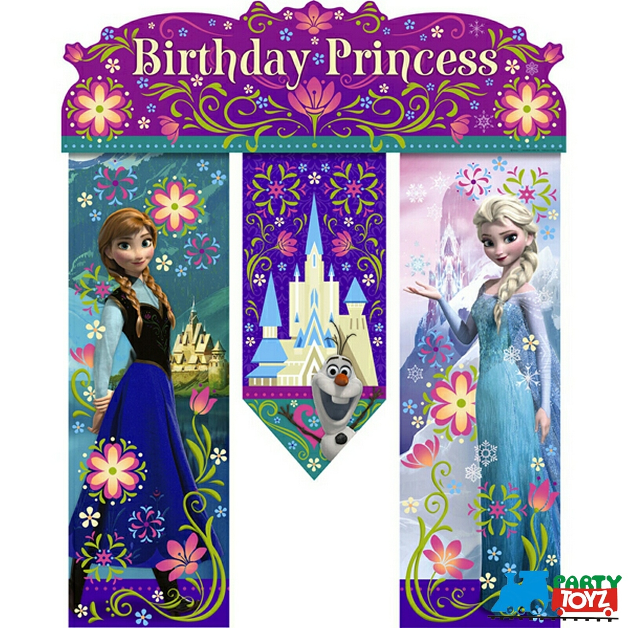 Frozen Ice Princess Anna Happy Birthday Banner   Partytoyz Inc
