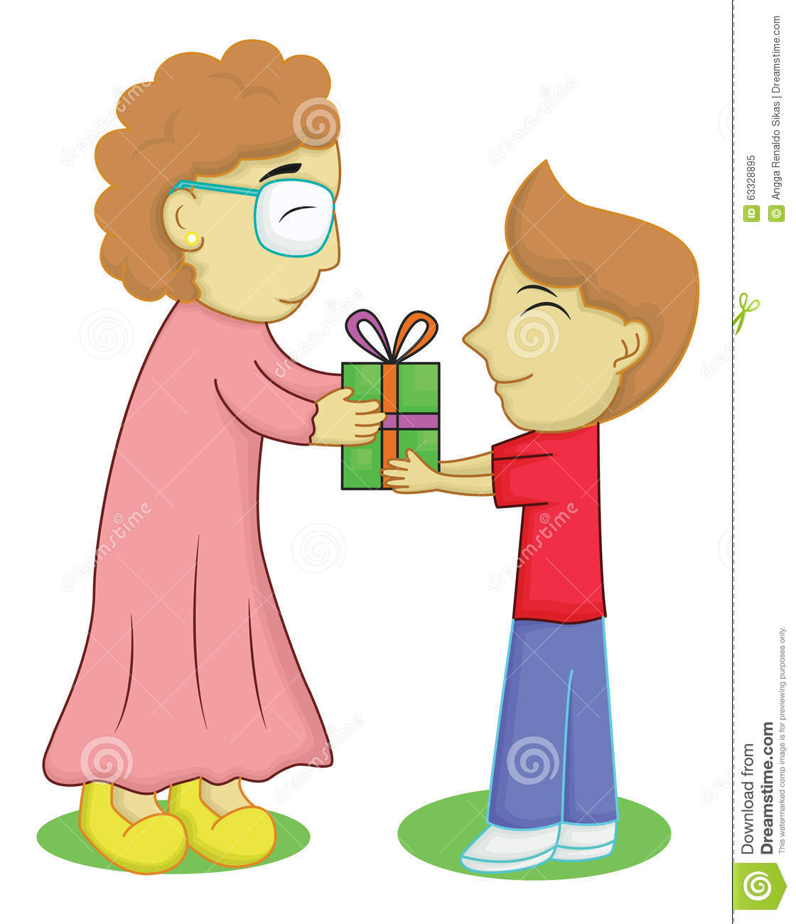 Illustration Of A Boy Giving Present To His Grandmother