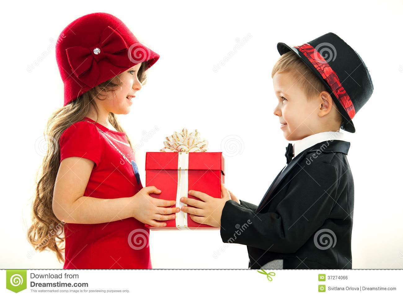 Little Boy Giving Girl Gift  Present For A Birthday Valentine S Day