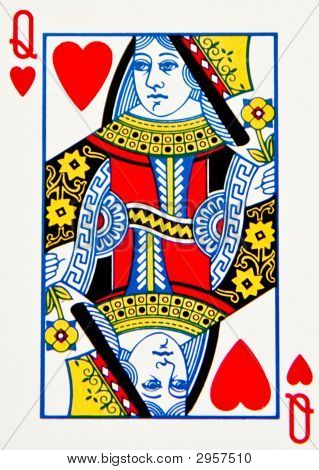 Single Card  The Queen Of Hearts Playing Card Picture   Royalty