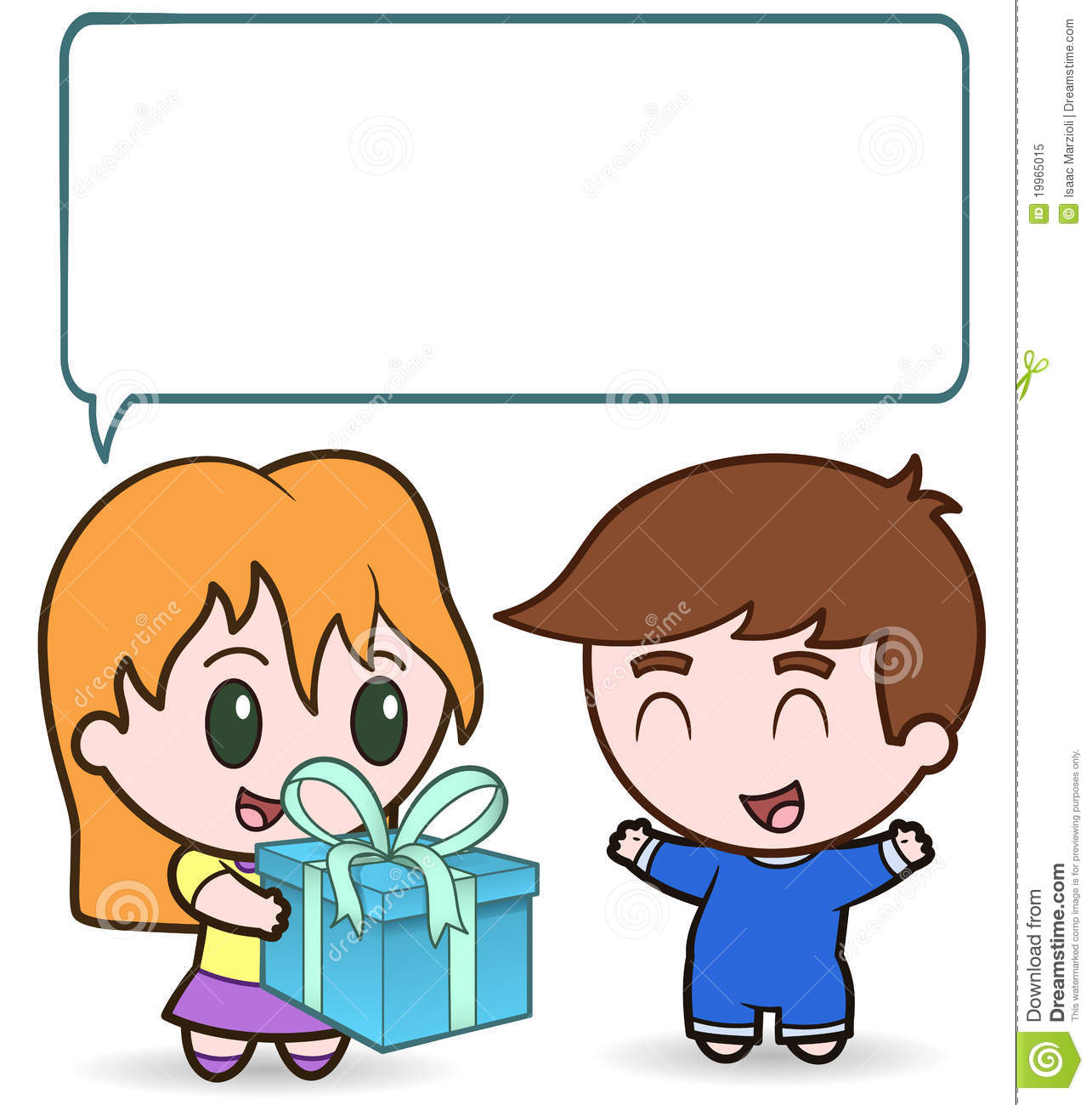 This Is An Illustration Of A Girl Giving A Present To A Little Boy