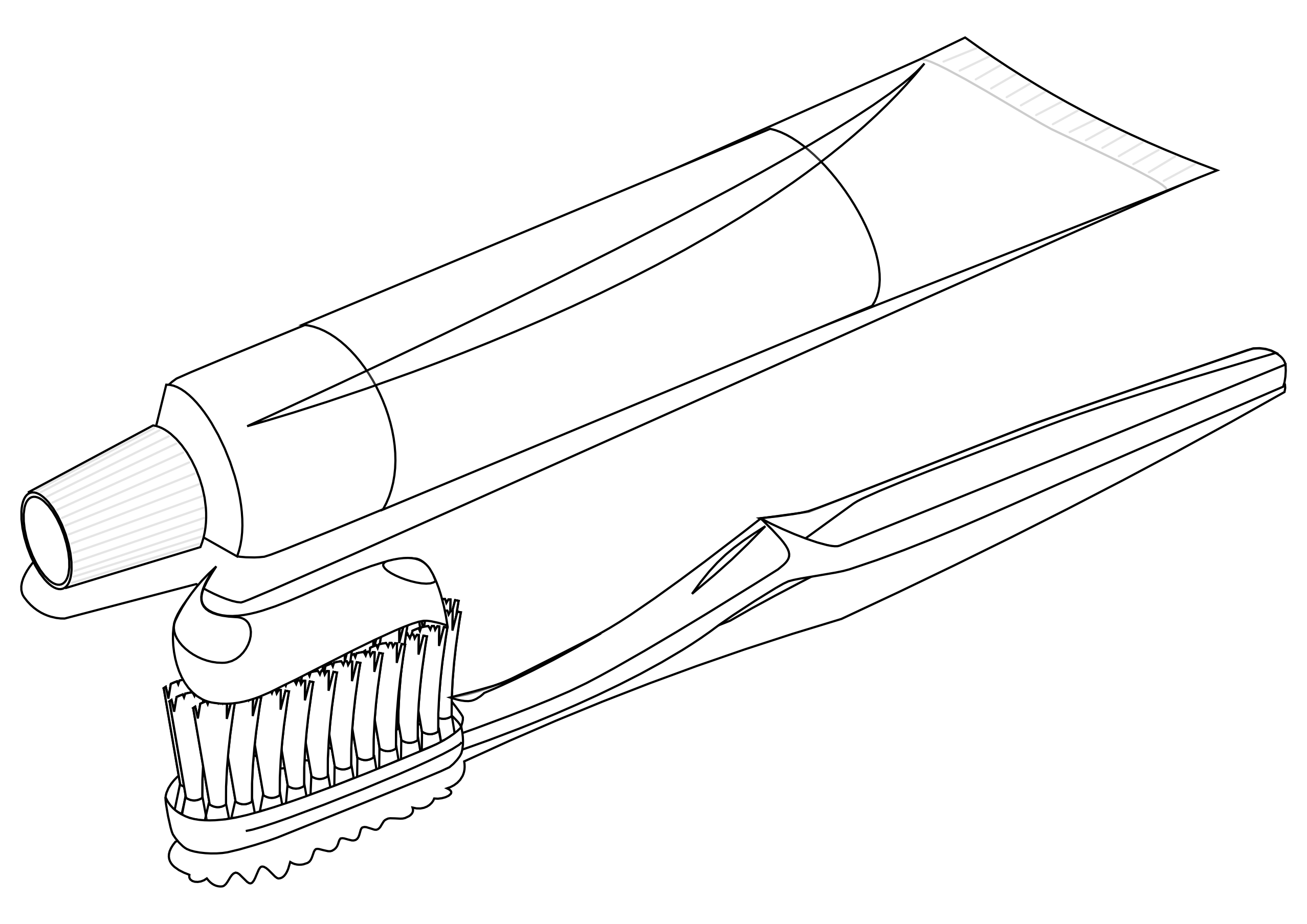 Toothbrush 3 Black White Line Art Scalable Vector Graphics